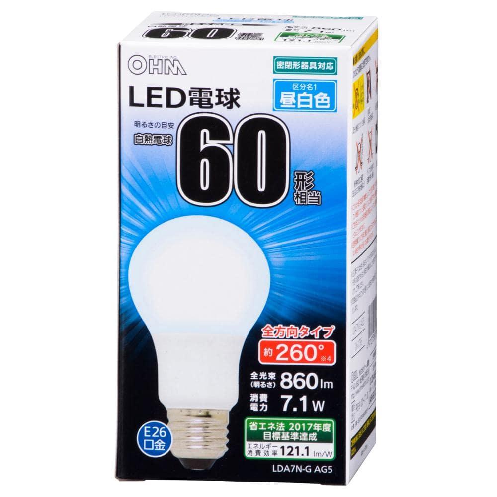 LED電球 60Wタイプ A形 E26 昼白色