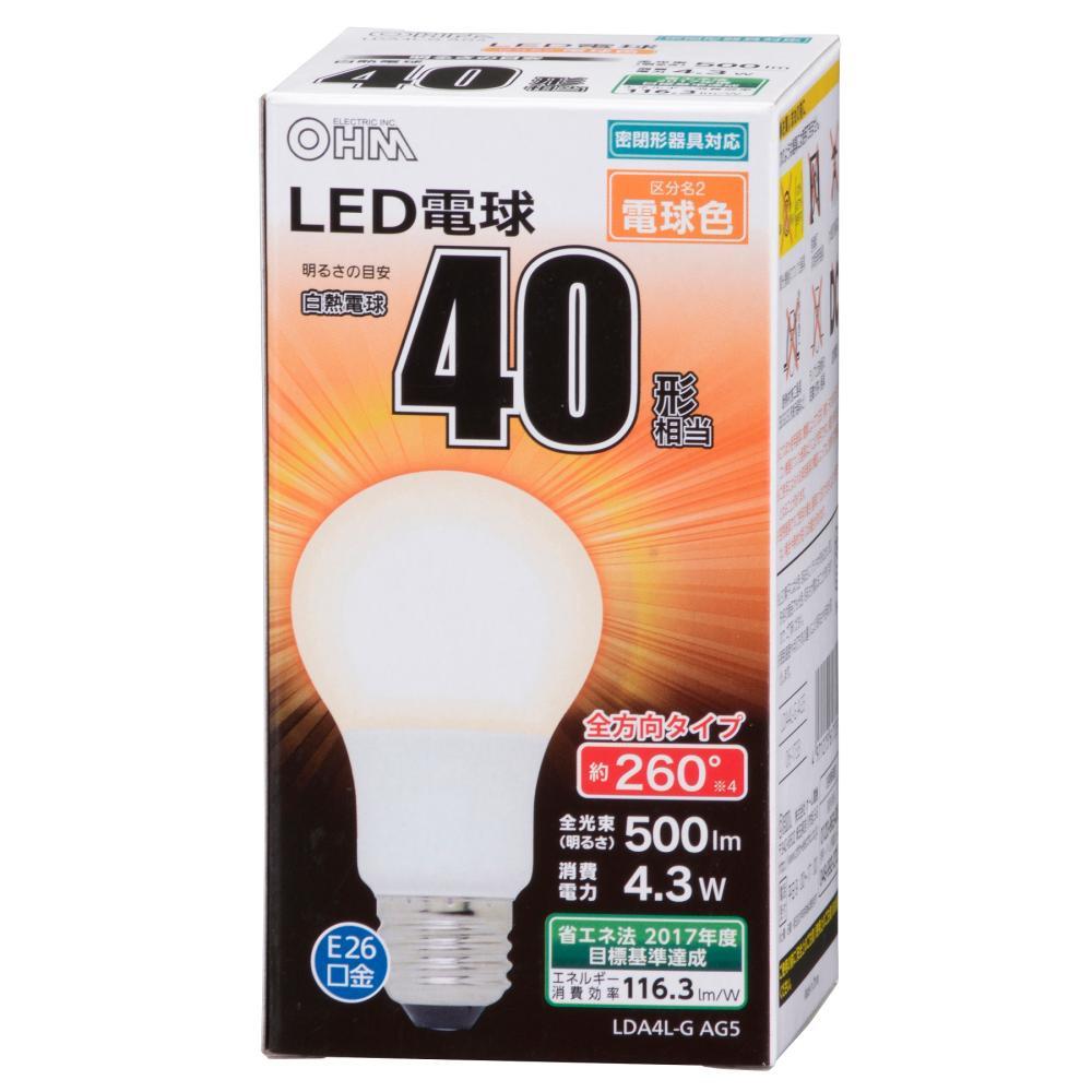 LED電球 40Wタイプ A形 E26 電球色