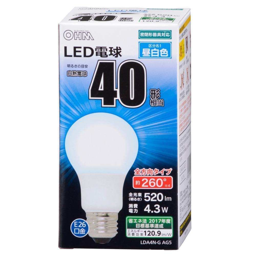 LED電球 40Wタイプ A形 E26 昼白色