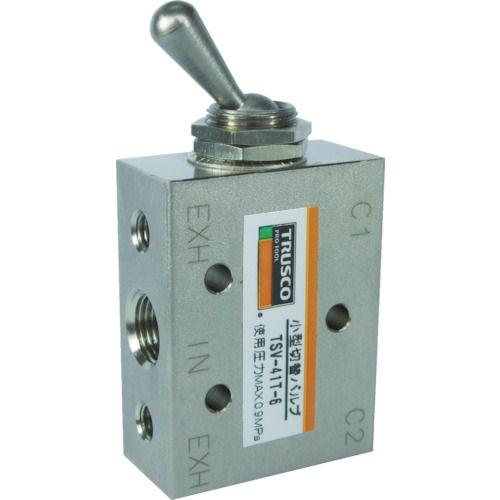 TRUSCO 4方向小型切替バルブ 5ポート 1/8 トグルレバータイプ_