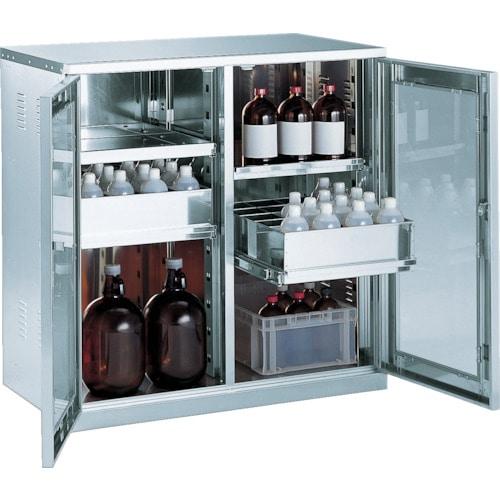 TRUSCO 耐震薬品庫 ガラス両開型 棚スライド式 900X500XH900_