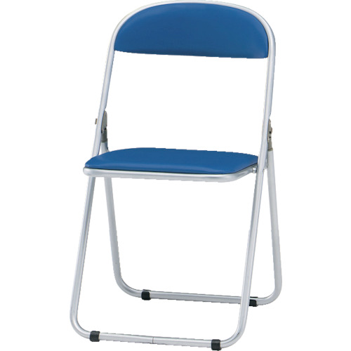 TRUSCO 折りたたみパイプ椅子 ウレタンレザーシート貼り 青_