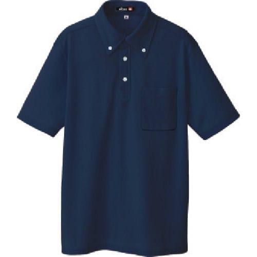 アイトス ボタンダウン半袖ポロシャツ ネイビー 各種