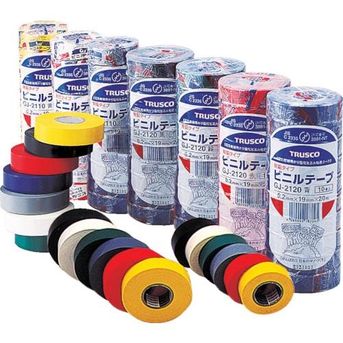 TRUSCO 脱鉛タイプビニールテープ 19mm×20m 10巻入り 各色