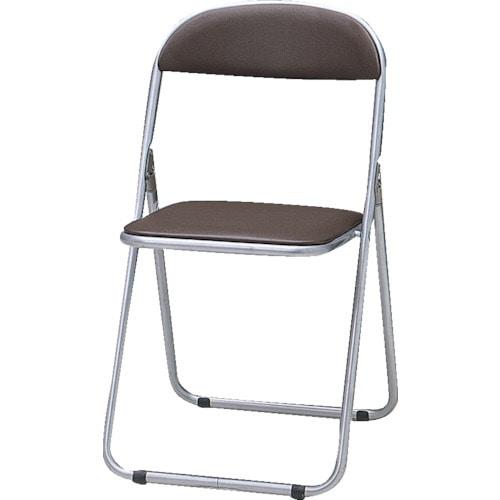 TRUSCO 折りたたみパイプ椅子 ウレタンレザーシート貼り ブラウン_
