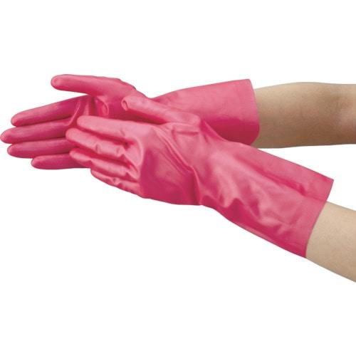 TRUSCO 天然ゴム手袋 中厚手タイプ ピンク Mサイズ_