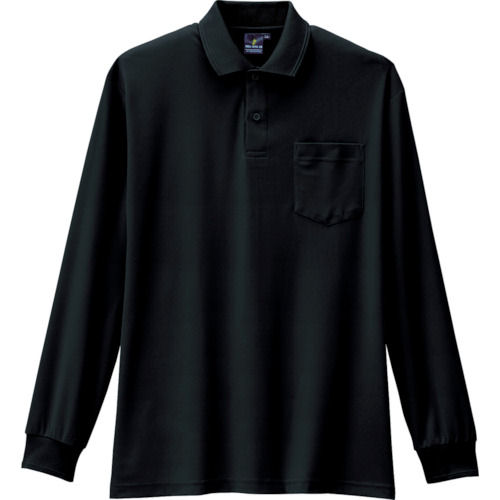 コーコス 制電・防透・消臭長袖ポロシャツ 13ブラック 各サイズ