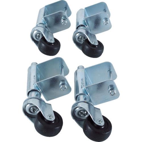 TRUSCO 手すり3段4段アルミ作業用踏台スプリングキャスター 4個1セット_