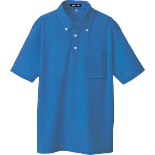 アイトス ボタンダウン半袖ポロシャツ ブルー 各種