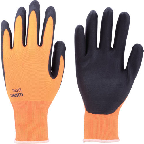 TRUSCO 液晶対応すべり止め付ニトリル手袋 オレンジ 各サイズ