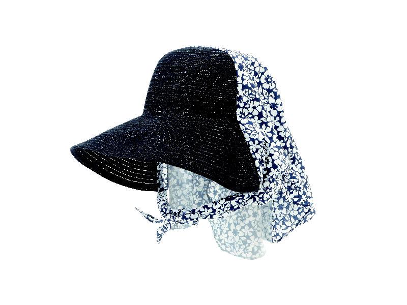 麦わら調農園帽 ブラック SR1708-002