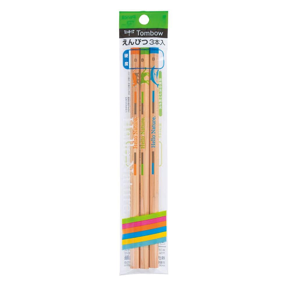 トンボ鉛筆 かきかた鉛筆 ハローネイチャー 3本パック 各種