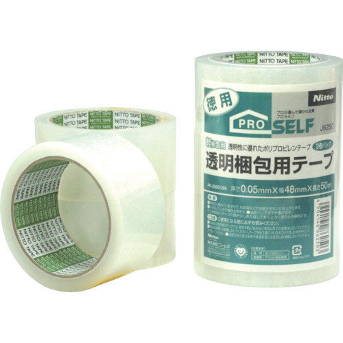 ニトムズ 透明梱包用テープ PK3500 (3巻入_