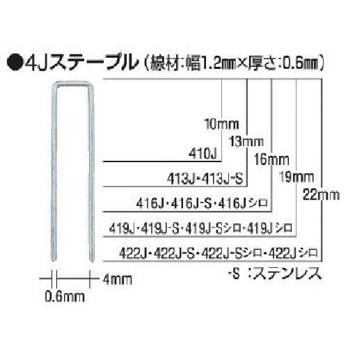 MAX タッカ用ステープル(白) 肩幅4mm 長さ_