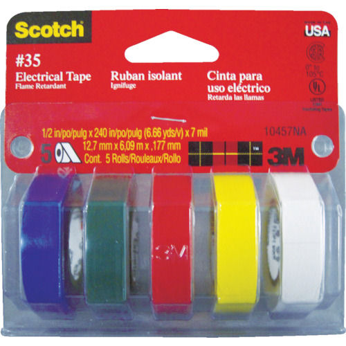 3M ビニールテープ No.35 マルチカラーパック (1Pk(袋)=5巻入)_