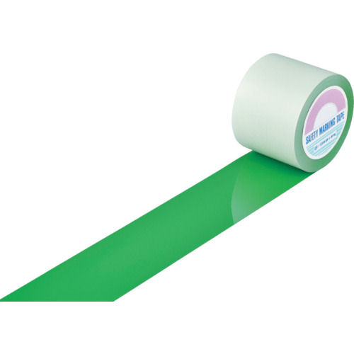 緑十字 ガードテープ(ラインテープ) 緑 100mm幅×100m 屋内用_