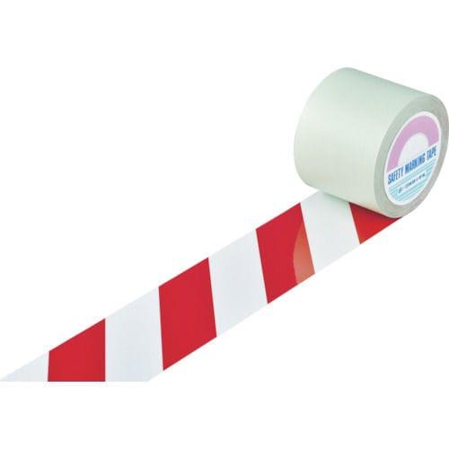 緑十字 ガードテープ(ラインテープ) 白/赤(トラ柄) 100mm幅×20m_