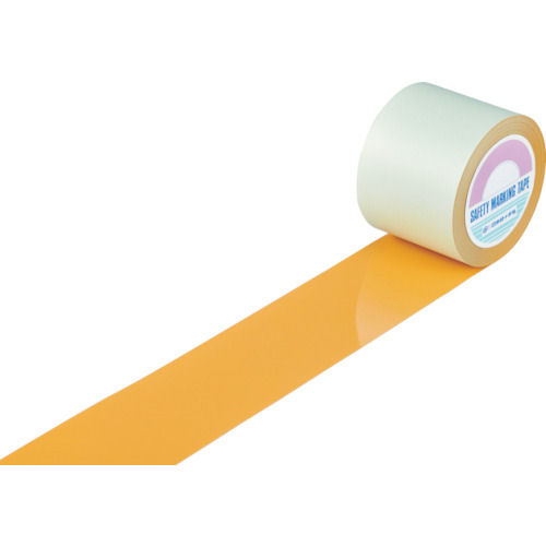 緑十字 ガードテープ(ラインテープ) オレンジ 100mm幅×20m 屋内用_