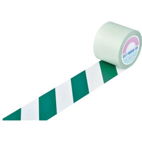 緑十字 ガードテープ(ラインテープ) 白/緑(トラ柄) 100mm幅×20m_