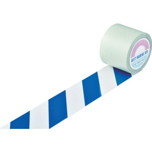 緑十字 ガードテープ(ラインテープ) 白/青(トラ柄) 100mm幅×20m_