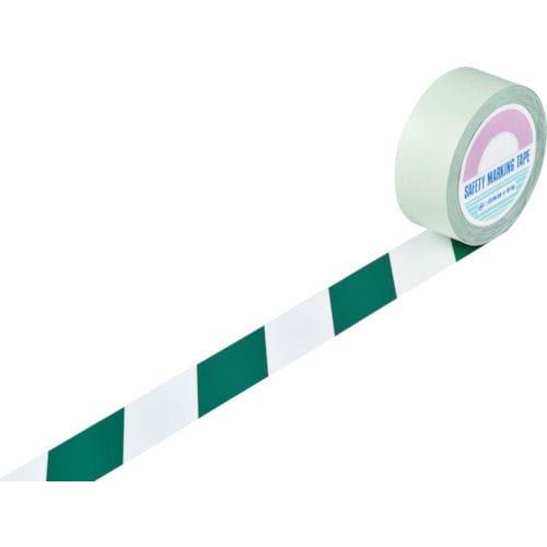 緑十字 ガードテープ(ラインテープ) 白/緑(トラ柄) 50mm幅×100m_