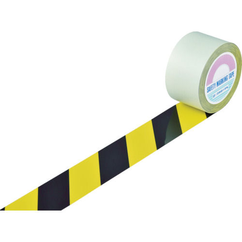 緑十字 ガードテープ(ラインテープ) 黄/黒(トラ柄) 75mm幅×100m_