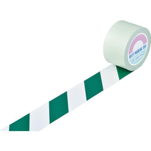 緑十字 ガードテープ(ラインテープ) 白/緑(トラ柄) 75mm幅×100m_