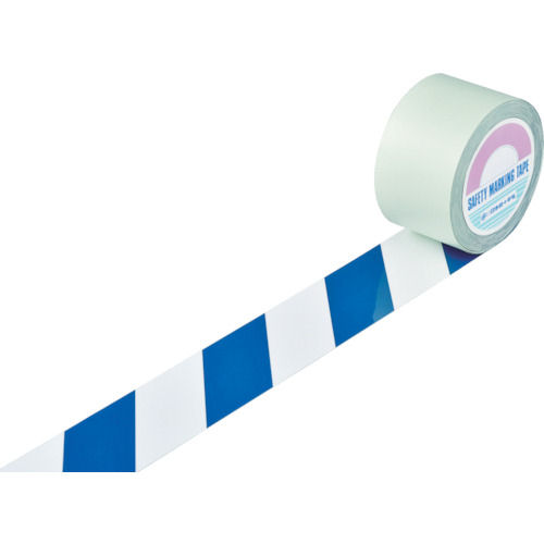 緑十字 ガードテープ(ラインテープ) 白/青(トラ柄) 75mm幅×100m_