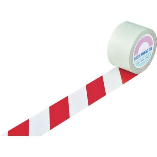 緑十字 ガードテープ(ラインテープ) 白/赤(トラ柄) 75mm幅×20m_
