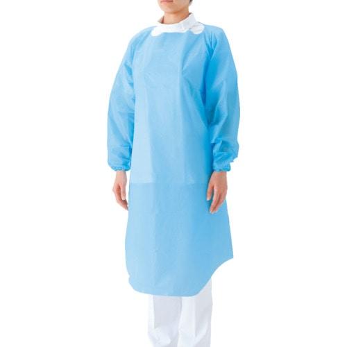 サラヤ プラスチックガウン 袖つき 15枚ブルーF_
