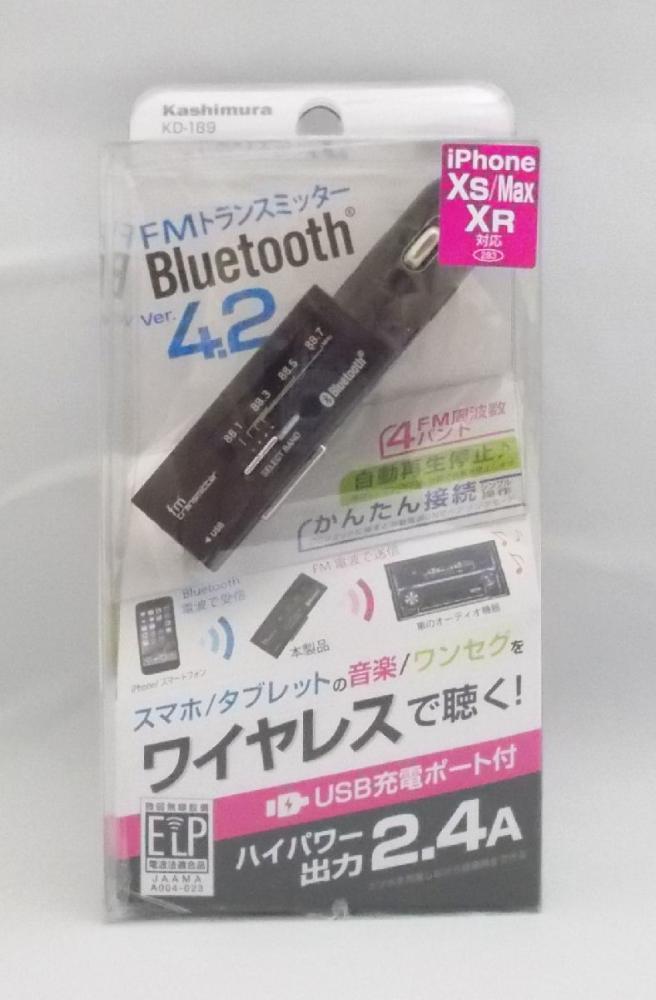 カシムラ ブルートゥース FMトランスミッター USB1ポート 2.4A KD189