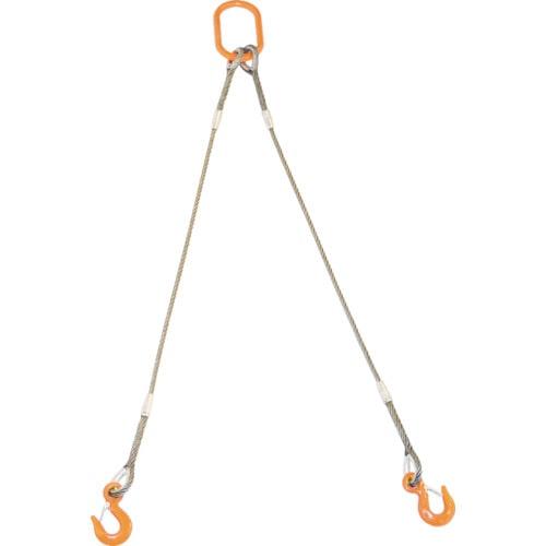 TRUSCO 2本吊りWスリング フック付き 12mmX2m_