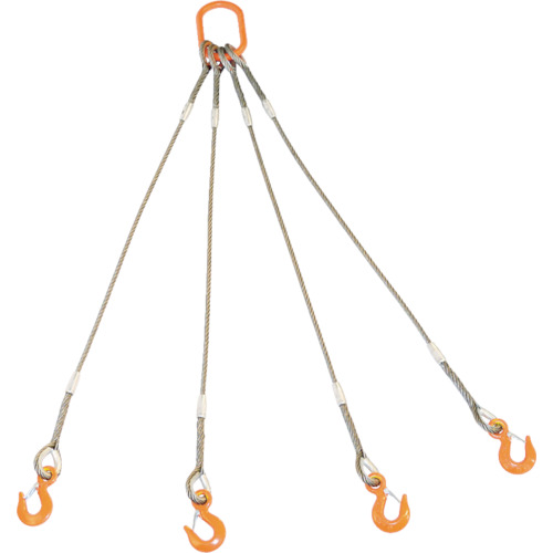 TRUSCO 4本吊りWスリング フック付き 9mmX1.5m_
