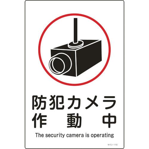 緑十字 イラスト標識 防犯カメラ作動中 450×300mm エンビ_
