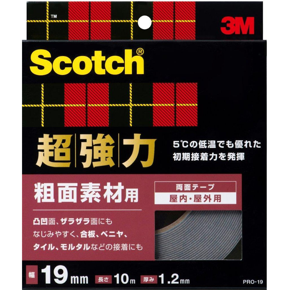 3M スコッチ 超強力両面テープ 粗面素材用 19mmX10m PRO-19_