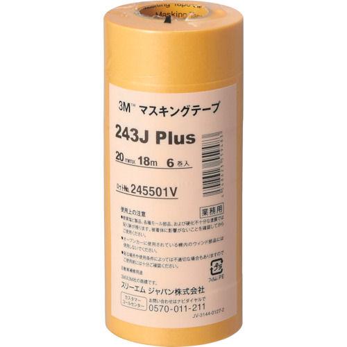 3M マスキングテープ 243J Plus 20mmX18m 6巻入り_