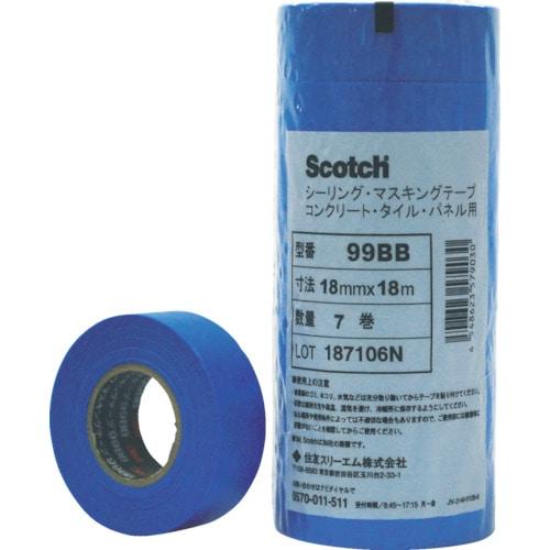 3M マスキングテープ(コンクリート・タイル・パネル用)18mmX18m 7巻入_