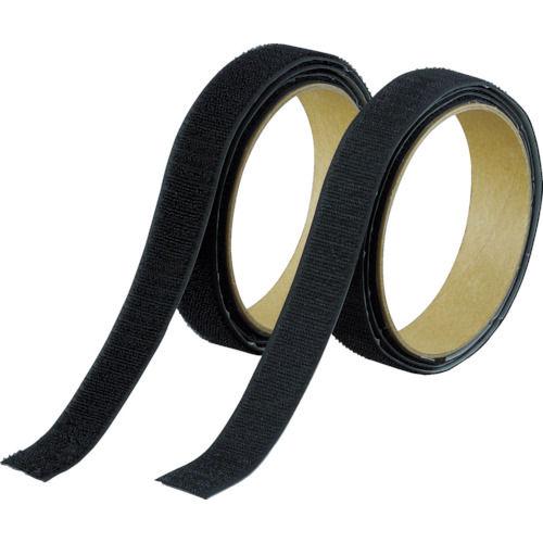 TRUSCO マジックテープ 強粘着 幅25mmX長さ1m 黒(1巻=1セット)_