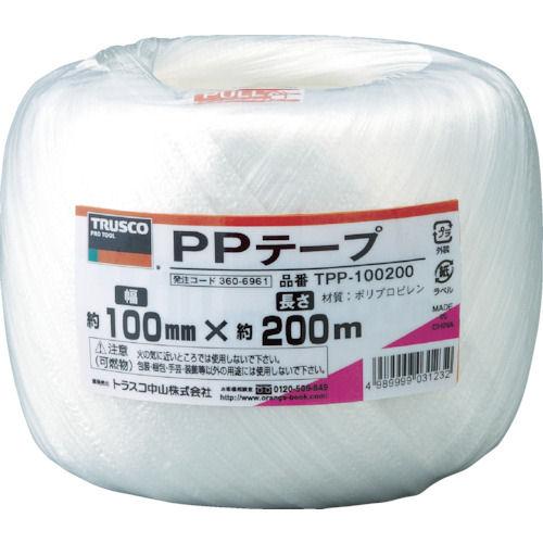 TRUSCO PPテープ 幅100mmX長さ200m 白_