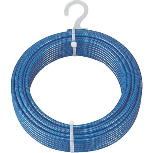 TRUSCO メッキ付ワイヤーロープ PVC被覆タイプ Φ8(10)mmX50m_