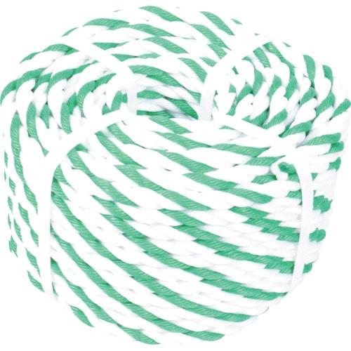 TRUSCO 標識ロープ 3つ打 7.5mm×30m 白・緑 _