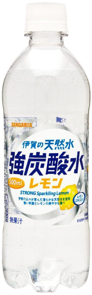 日本サンガリア 伊賀の天然水 強炭酸水レモン 500ml