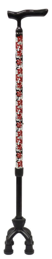 アルミMIX4点可動式 杖スモールタイプ 花柄ブラック