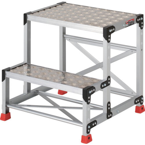 TRUSCO 作業用踏台 アルミ製・縞板タイプ 天板寸法600X400XH600_
