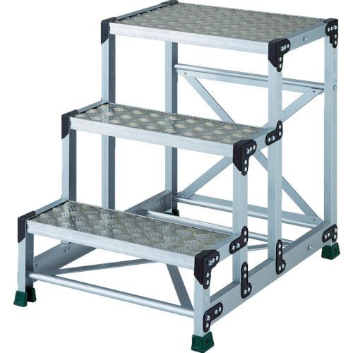 TRUSCO アルミ合金製作業台 縞鋼板 3段 高さ0.75m 600X400_