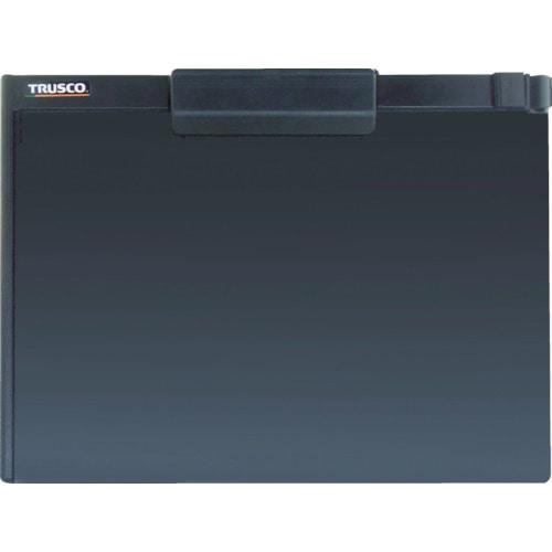 TRUSCO ペンホルダー付クリップボード A4横 黒_