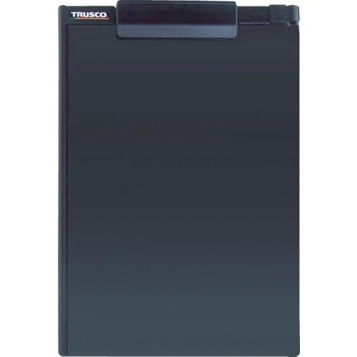 TRUSCO ペンホルダー付クリップボード(マグネット付) A4縦 黒_