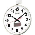 SEIKO ソーラー屋外用大型電波掛時計 527×450×78 金属枠_