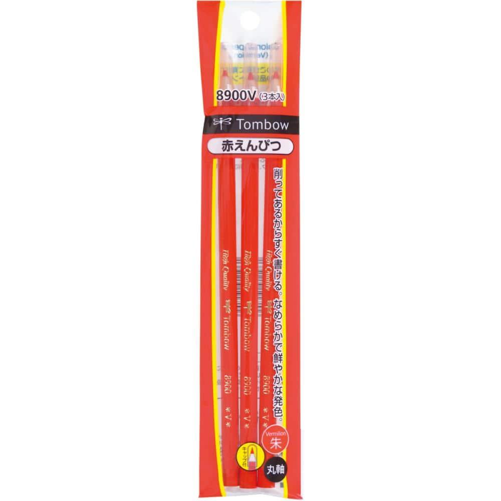 トンボ鉛筆 赤鉛筆 8900 キャップ付 V 3本パック