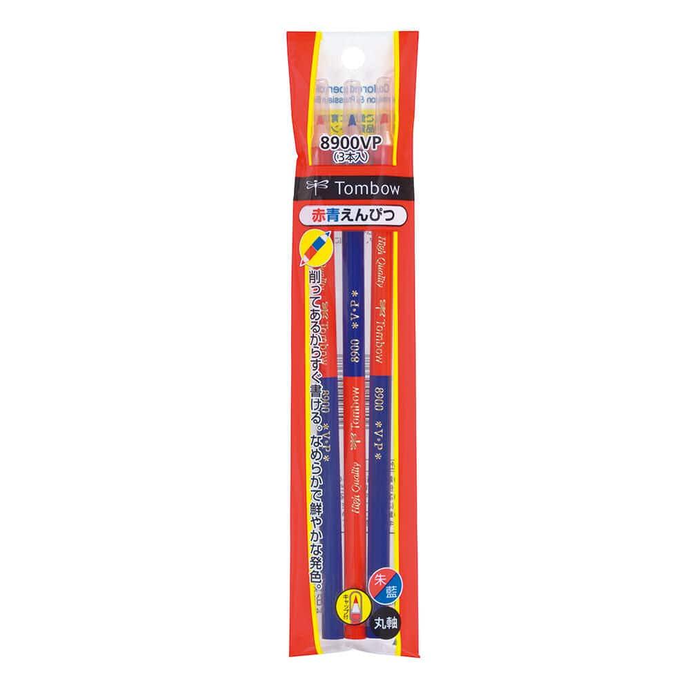 トンボ鉛筆 赤青鉛筆 8900VP キャップ付 3本パック